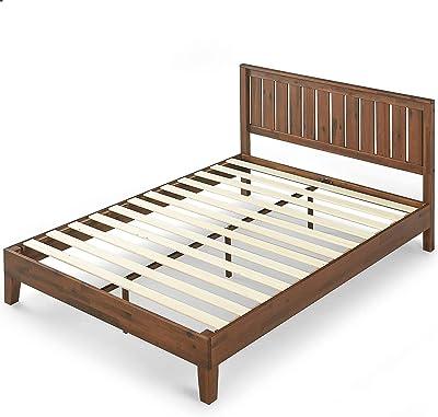 Zinus (ジヌス) すのこ ベッド フレーム セミダブル 30cm 木製 ヘットボード付き Deluxe Wood Platform【日本正規品】(設置・組立・引き取りあり ※一部地域のみ)