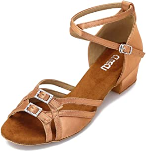 Low Heel Ballroom Dance Shoes Latin Salsa Shoes for Women Adjustable Toe Width 1.5 Inch Heel ZB21