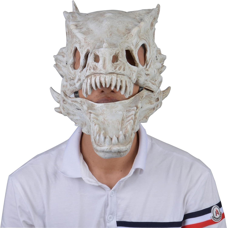 Máscara de Halloween de dinosaurio, máscara de dragón de Halloween para cosplay de cabeza de animales, máscara de látex para fiestas de disfraces, máscaras divertidas (blanco, talla única)