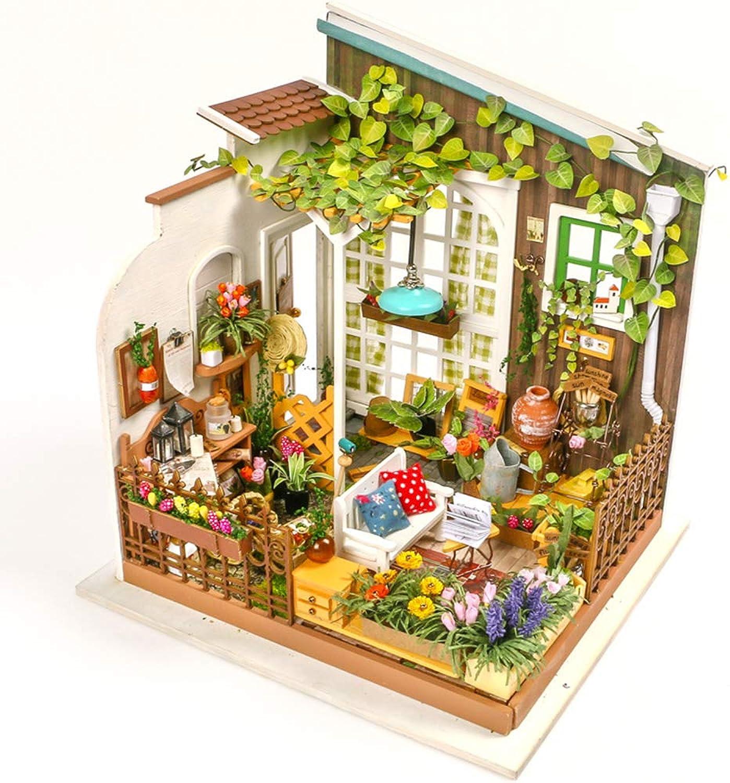 IGNB DIY Wooden Dollhouse Handmade 3D House Kit Sunshine Garden Wooden Toy Room Model And Home Decor