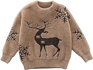 Toddler Kids Velvet Knitted Sweater Warm Autumn Baby Boy Christmas Elk Tops Outwear Winter Clothing