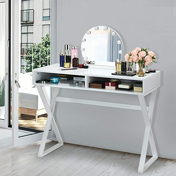 Kanizz 现代设计工作站家具电脑桌化妆梳妆台 2 个收纳隔层头发护理梳妆指甲油设备化妆品收纳袋产品