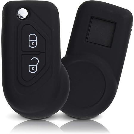 ASARAH Couvercle de clé en Silicone Premium Compatible avec Citroen, Couvercle de Protection pour clés de Voiture, Couvercle pour Type de clé 2BKB-b - Noir