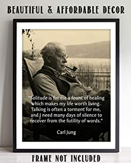 """Carl Jung Quotes Wall Art- """"Solitude is a Fount of Healing""""- 8 x 10"""