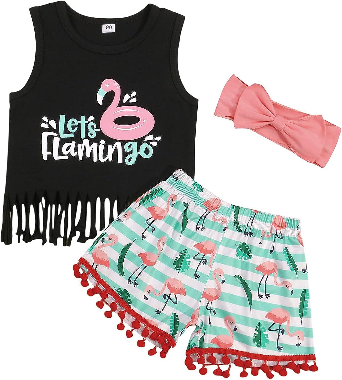Toddler Baby Girl Sleeveless Letter Tassel Vest Top Flamingo Striped Pom Poms Shorts Headband 3Pcs Summer Outfit