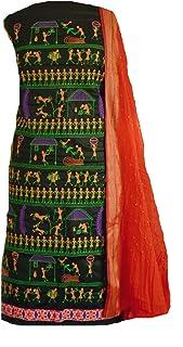 KATHIWALAS Women's Cotton Silk Kutch Work Bandhani/Bandhej Unstitched Salwar Suit Material Suit (Black Orange,Free Size)