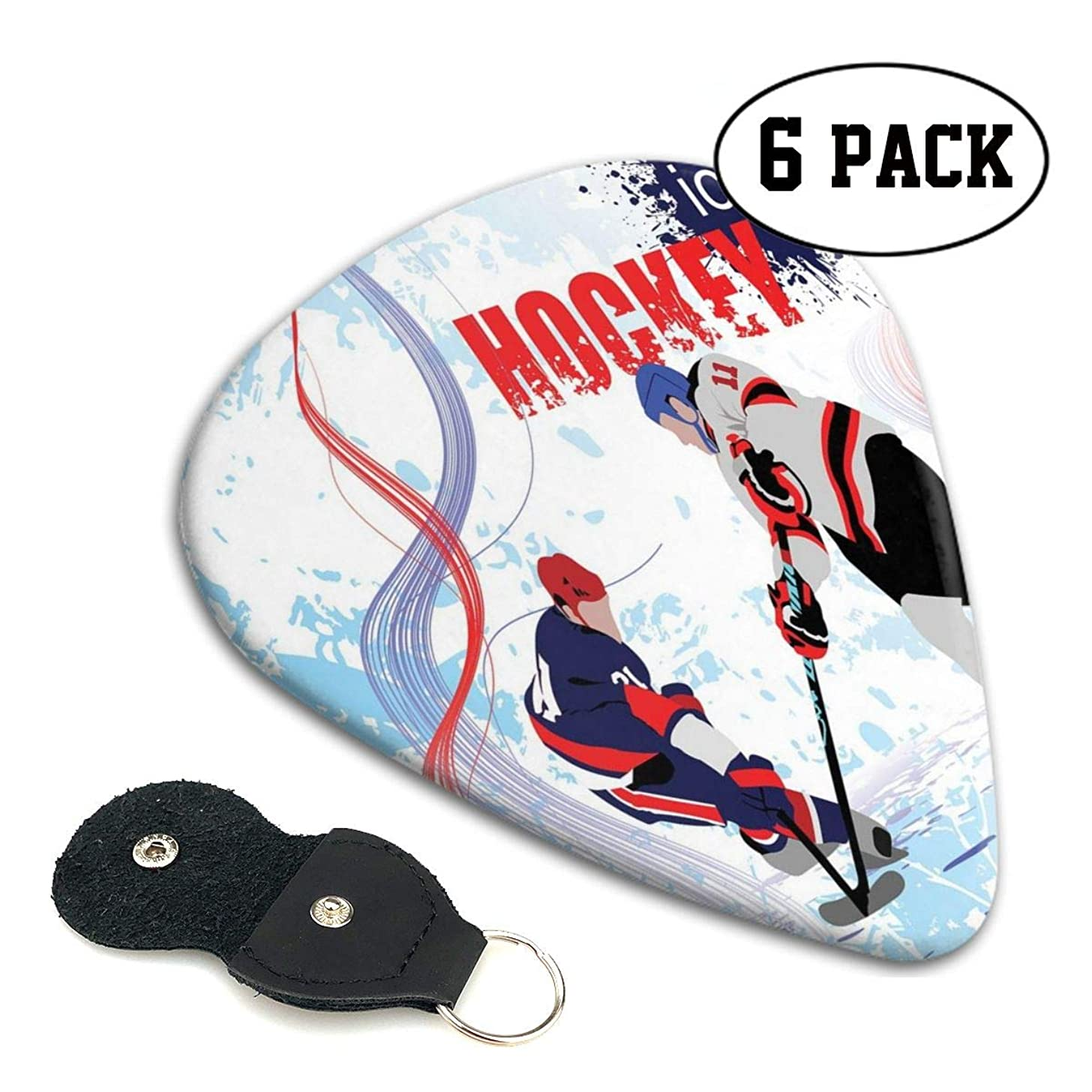 Guitar Picks 6 pcs,Two Ice Hockey Players In Cartoon Style On Grunge Abstract Skating Rink Backdrop