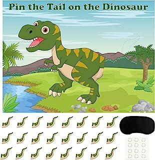 FEPITO Pin The Tail dinosaurusspel met 24 stuks staarten voor dinosaurussen, verjaardagsfeestaccessoires, jongens-dinosaur...
