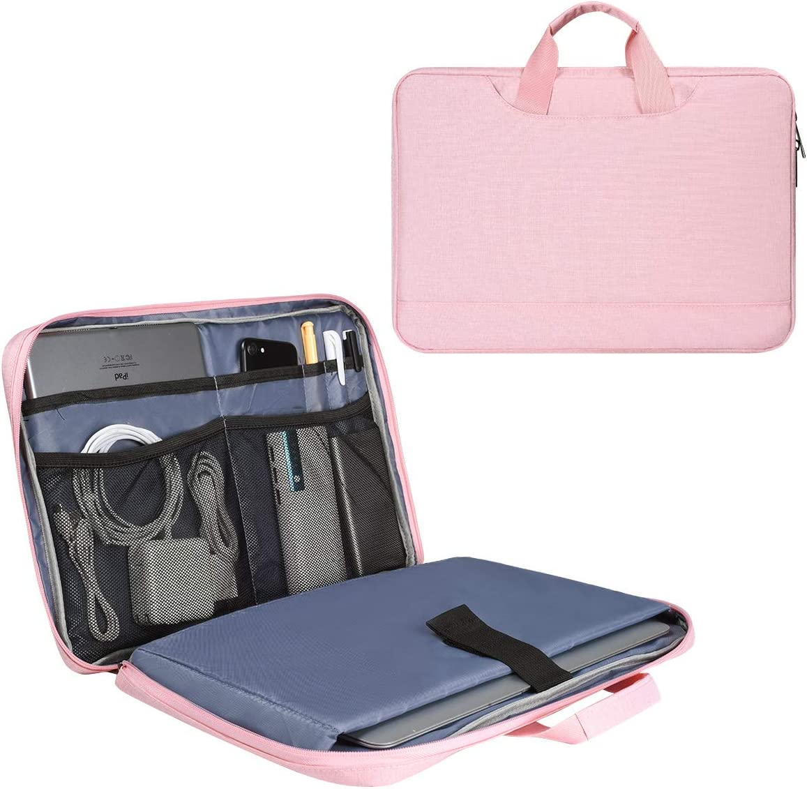 15.6 Inch Laptop Briefcase Bag for Women Ladies Bag with Accessories Organizer for Dell Inspiron 15, HP Envy X360/Pavilion 15.6, Acer Aspire 15, Lenovo IdeaPad 3 15.6 ASUS MSI MacBook 15 Case, Pink