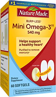 Nature Made Burp-Less Mini Omega-3††, 60 Count for Heart Health† (Packaging May Vary)