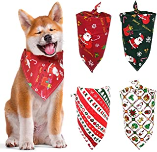 ABTOR Dog Bandana, 4Pcs Christmas Dog Scarf Triangle Printing Dog Kerchief Set Washable Dogs Accessories Bibs Large for Puppy, Cat, Pet