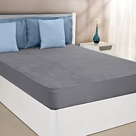 """Amazon Brand - Solimo Water Resistant Cotton Mattress Protector 78""""x72"""" - King Size, Grey"""