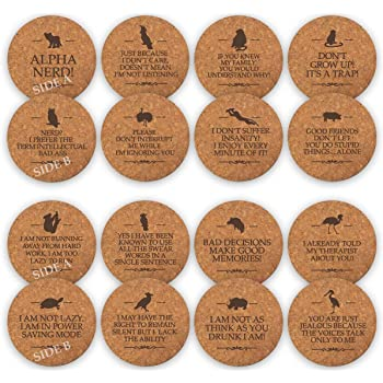 TANGRA Funny Party Cork Bar Coasters [8 Pack] Double Sided Laser Engraved with 16 Sayings. Have Fun for Birth Day Man Woman Colleague Office Coffee Mug Beer Drinking Glass (Funny Style - 1)