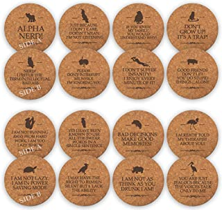 TANGRA Funny Party Cork Coasters Set of 8 Double Sided Laser Engraved with 16 Quotes More Fun for Man Woman with Large Absorbent Bar Drink Office Coffee Mug Glass Car Desk Coasters