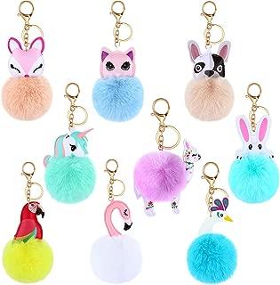 9 Pieces Animal Pom Pom Keychain Cute Faux Fur Key Ring for Women Girls Bag Accessories