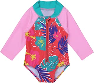 iEFiEL Baby//Toddler Girls Rash Guard Swimsuit Shirt Tops Long Sleeve Floral Sun Protection UPF 50 Bodysuit Swimwear