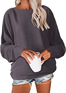 Beautife Womens Oversized Crewneck Sweater Casual Batwing Long Sleeve Knit Tunic Blouse Pullover Tops