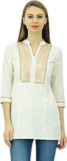 Phagun Designer Sequins Neck Short Cotton Tunic 3/4 Sleeves Beaded Blouse Ethnic Chic Top