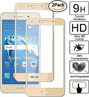 Guran [2 Paquete] Protector de Pantalla para Huawei Y7 2017 / Y7 Prime 2017 [Full Coverage] Vidrio Cristal Templado 100% Cobertura Completa Film - Dorado