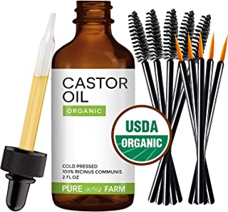 Pure Castor Oil, 2 oz. Best 100% USDA Organic Cold Pressed Moisturizer For Hair, Face, Skin and Nail Growth - Guaranteed