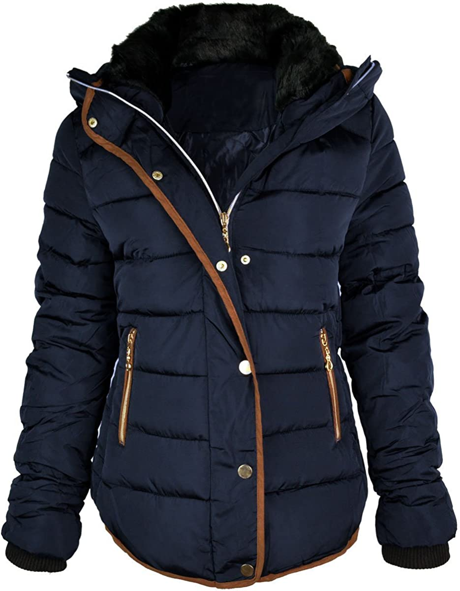 Fashion Thirsty Women's Quilted Hooded Winter Puffer Coat 10 Blue