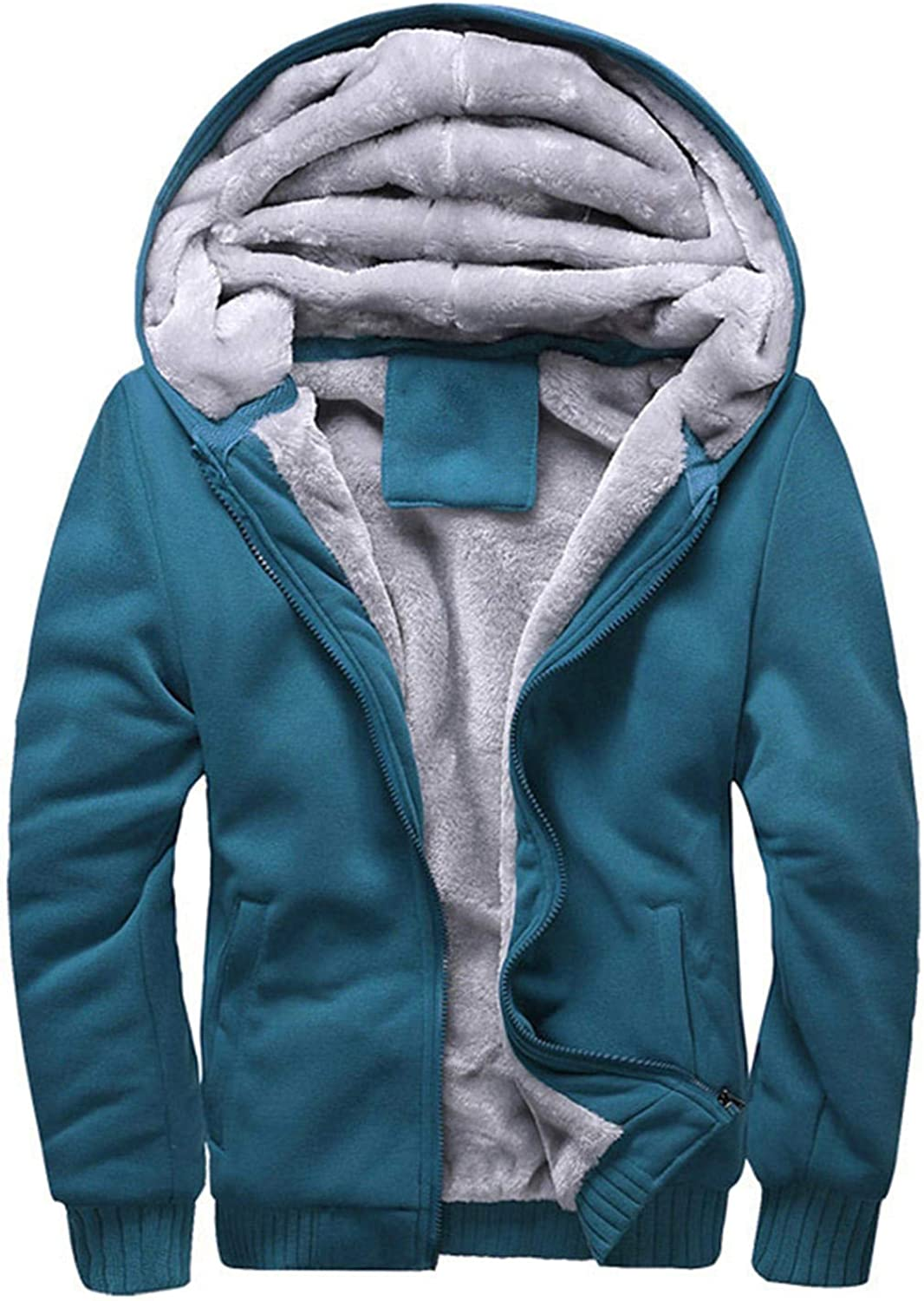 Soluo Men's Pullover Winter Workout Fleece Hoodie Jackets Full Zip Wool Warm Thick Coats (Blue,X-Large)