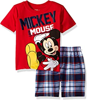 Boys' Mickey Mouse Plaid Short Set with T-Shirt