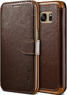 Galaxy S7 Edge Case, VRS Design [Layered Dandy][Coffee Brown] - [Premium Leather Wallet][Slim Fit] For Samsung S7 Edge