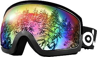 عینک اسکی برفی اودولند عینک دوتایی ضد مه شکن ضد آب UV400 مخصوص بزرگسالان و جوانان اسکی ، اسنوبورد ، دوچرخه سواری با موتور سیکلت و ورزش برفی در زمستان در فضای باز زمستانی مخصوص اتومبیل های برفی