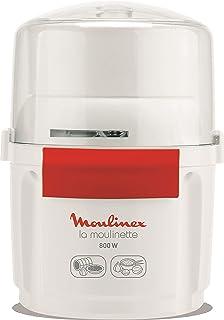 Moulinex AD5601 Hachoir à Moulinette 800 W Poignée, Mélange et Court Système 1-2-3 Utilisation Rapide Lame Inox Blanc/Rouge
