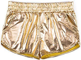 Fashion Leather Shorts Women Sexy Casual Shiny Metallic Elastic Waist Short Sport Dance Shorts