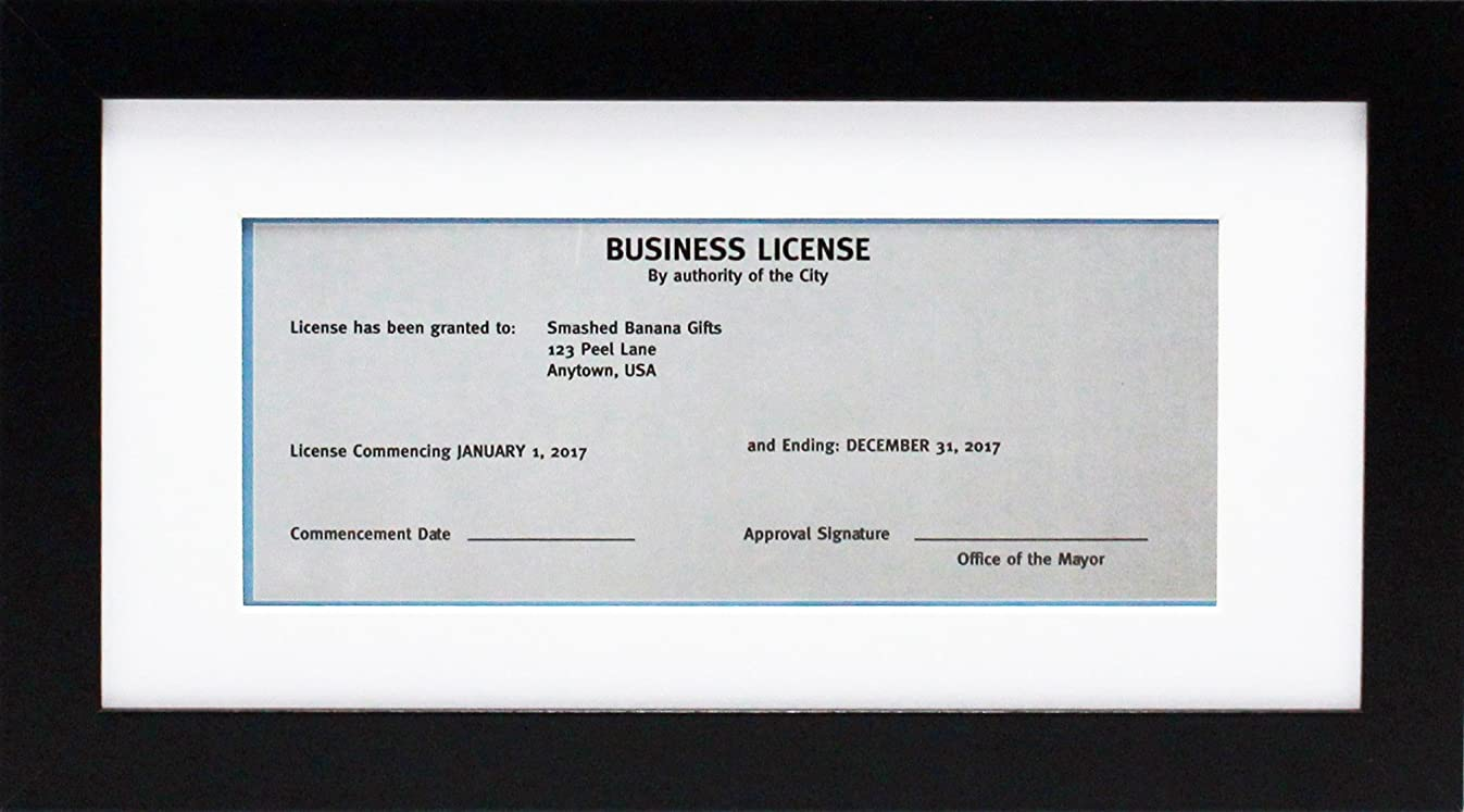 5x10 Black Gallery Business License Frame with 3.5x8 Mat - Wide Molding - Includes Attached Hanging Hardware and Desktop Easel - Display Panoramic Picture or Retail Licenses (5x10)