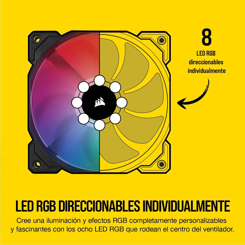 Corsair iCUE SP120 RGB PRO - Ventilador de chasis de 120mm, Silencioso, de Flujo de aire elevado, Paquete Individual ...