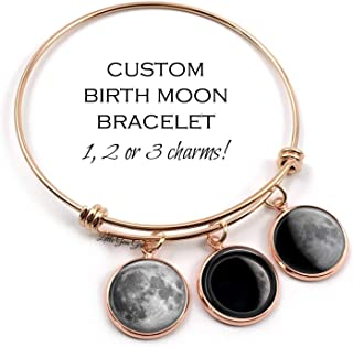Custom Birth Moon Wire Wrap Charm Bracelet in Stainless Steel Rose Gold Personalized Birthday Moon Phase Bangle