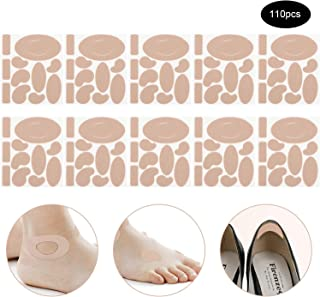110 Pieces Moleskin Tape Flannel Adhesive Pads Heel Stickers Blister Prevention Pads Anti-wear Heel Pads for Feet Fabric Padding,11 Shapes