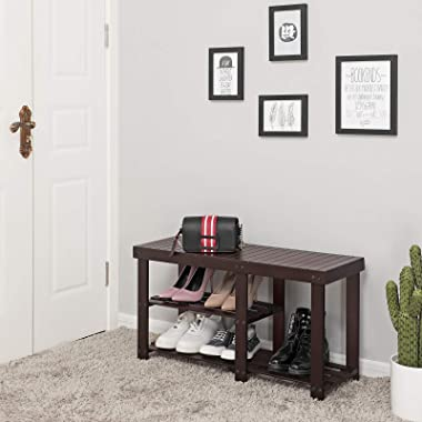 SONGMICS Bamboo Shoe Rack Bench for Boots, Entryway Storage Organizer, 3 Tiers Shoe Shelf, Multi Function for Hallway Bathroo
