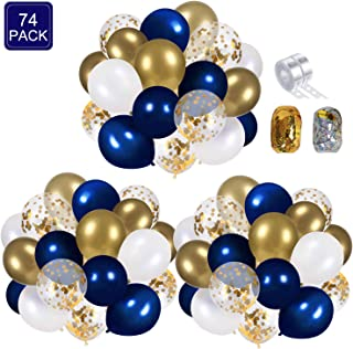 Navy Blue and Gold Confetti Balloons Party Decoration Supplies 70pcs 12 inch Gold Metallic Pearl White Balloons for Navy P...