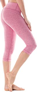 CRZ YOGA Women's Running Tights Workout Capris Cropped Yoga Pants with Pockets Heather pink XL