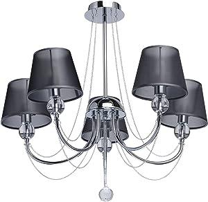 MW-Light 684010305 Lámpara de Araña 5Focos en Metal Cromado Pantallas de Organdí Cristal Original Salón Dormitorio 5 x 40W E14