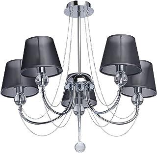 MW-Light 684010305 Lustre Plafonnier Moderne à 5 Lampes en Métal couleur Chromé Abat-jours en Organza Noir décoré de Crist...