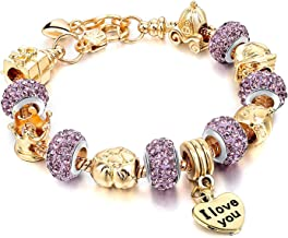 Choker I Love You Heart Pendant Charm Beads Bracelets Gold Plated Snake Chain Glass Crystal for Mother Grandma Daughter