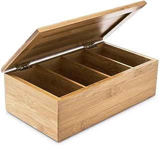 Relaxdays Boîte à thé avec couvercle en bambou 4 compartiments 80 sachets de thé HxlxP 9 x 28,5 x 16 cm Rangement couvercl...