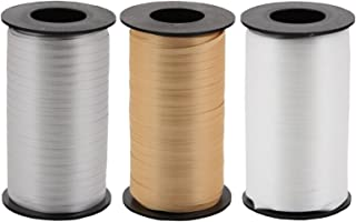 Metals 3-Pack Bundle of Berwick Splendorette Crimped Curling Ribbon - Gold, Silver & White - 500 yards each