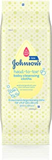 Johnson's Head-to-Toe Baby Cleansing Cloths, Hypoallergenic and Alcohol Free, 15 ct (Packaging May Vary)