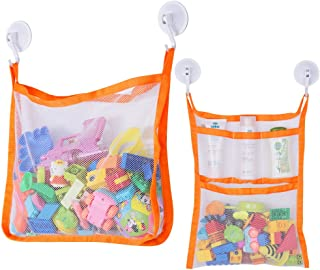 Bath Toy Organiser, Toy Holder Storage Bags with 4 Suction Cup Hooks and 2 Bath Toy Nets for Kids, Toddlers and Adults (Or...
