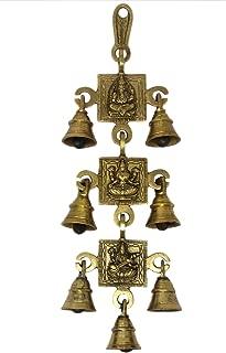 ShalinIndia Hindu Gods Ganesh Laxmi Saraswati Image Seven Bells Brass Wall Hanging 13 x 6 x 1 inches 605 Grams