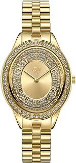 ساعة جيه بي دبليو فخمة للنساء بيليني J6381 0.12 قيراط 12 مطلية بالالماس وسوار من الستانليس ستيل، 30 ملم