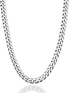 MiaBella Solid 925 Sterling Silver Italian 5mm Diamond Cut Cuban Link Curb Chain Necklace for Women Men, 16, 18, 20, 22, 2...