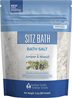 Sitz Bath Soak 32 Ounces Geranium, Frankincense, Lavender, Niaouli, Juniper Essential Oils with Epsom Salt plus Vitamin C Crystals All Natural Hemorrhoid Relief in BPA Free Packaging