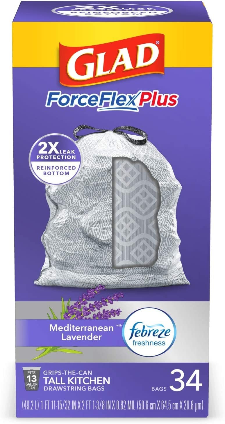 Glad ForceFlexPlus Tall Kitchen Drawstring security Bags Trash - In stock 13 Gallo